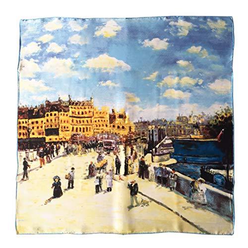 laprée - Bufanda de Seda Cuadrada Reproducción de la Pintura Pont Neuf por Pierre-Auguste Renoir