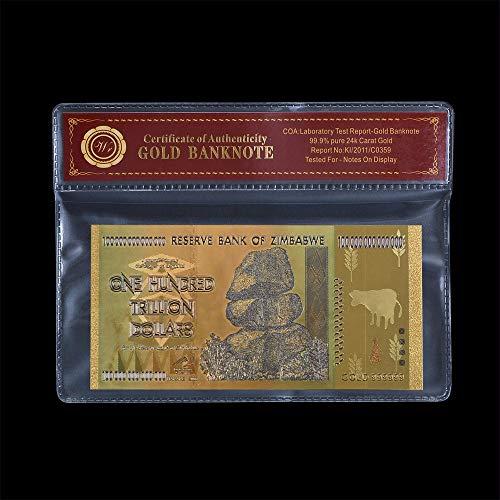 Zimbabue Cien Trillones de Dólares Raros Chapado en Oro Coleccionistas Edición Especial Reserva Billete de Zimbabue con Certificado de Autenticidad