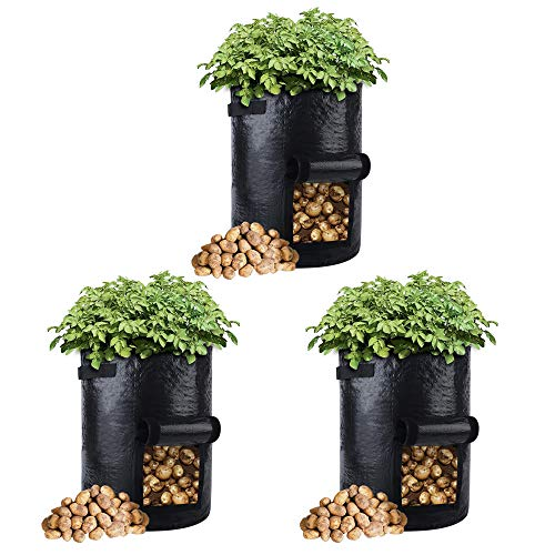 3-Pack 10 Gallons Grow Bags Potato Planter Bag with Access Flap and Handles...
