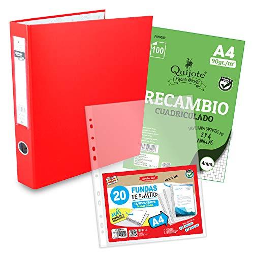 Starplast, Archivador Anillas con 100 Recambios Hojas, A4 a Cuadros, 20 Fundas...