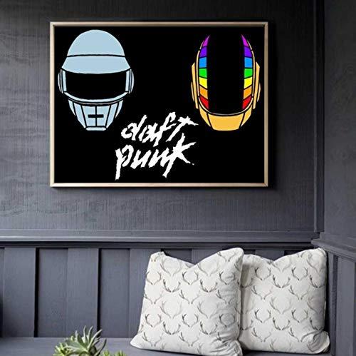 JIUJIUJIU Leinwand Kunst Malerei Daft Punk Helm Maske Musik Poster und Druck Wandbilder für Wohnzimmer Dekoration Wohnkultur ohne gerahmt 40 * 60cm