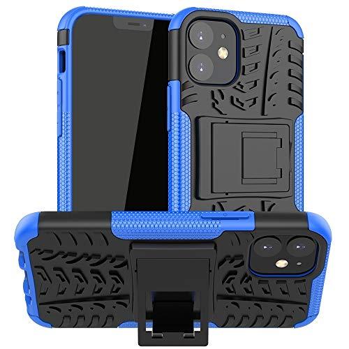 RUNNA para iPhone 12 Mini Textura de neumáticos TPU + PC Funda Protectora con Titular (Color : Blue)