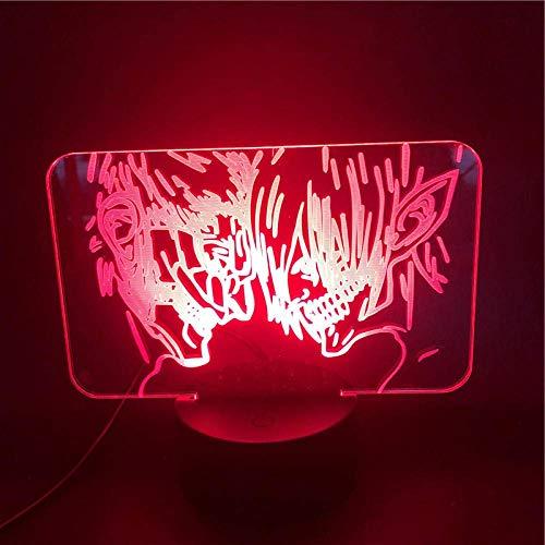 Lámpara de ilusión 3D Luz de noche LED Acrílico Anime Armored Titan Vs Eren Jaeger para niños Lámpara de escritorio para dormitorio fresco Los mejores regalos de vacaciones de cumpleaños para niñ