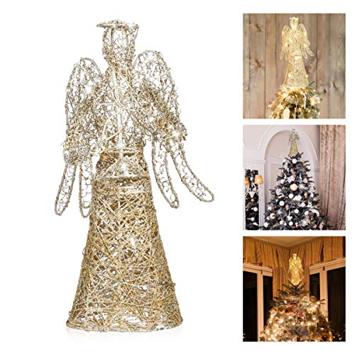 Amosfun Angel Christmas Tree Topper Gold Glitter Christmas Treetop Decoration Coated Metal Angel Xmas Tree Topper Ornaments for Holiday Home Office Shopping Mall Decor