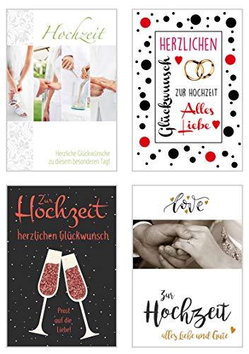 Edition Seidel Set exklusive Hochzeitskarten mit Umschlag. Glückwunschkarte Grusskarte zur Hochzeit. Hochzeitskarte Karte (Set 3, 4 Karten)