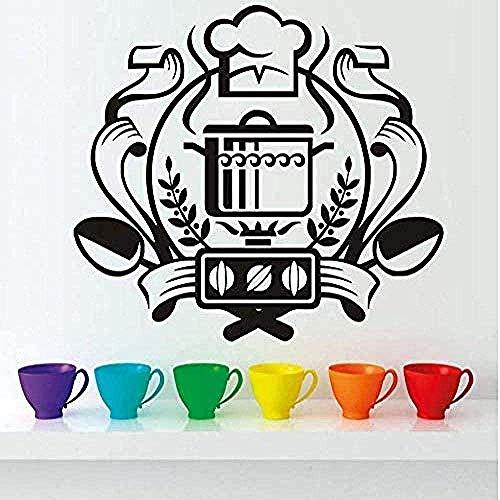 Etiqueta de la pared calcomanía de vinilo mural chef insignia decoración del hogar arte mural comedor cocina de inducción vinilo de cocina 66 * 58 cm