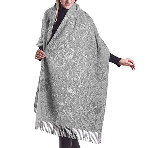 Bingyingne Sciarpa di cachemire Sciarpa da donna decorativa a righe d'argento a righe d'argento Grande coperta lunga Scialle avvolgente a quadri con nappa 77 'x27'