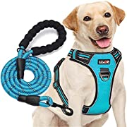 """tobeDRI No Pull Dog Harness Adjustable Reflective Oxford Easy Control Medium Large Dog Harness with A Free Heavy Duty 5ft Dog Leash (L (Neck: 18""""-25.5"""", Chest: 24.5""""-33""""), Blue Harness+Leash)"""