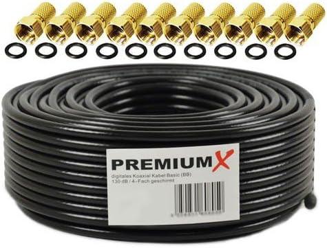 25m Cable coaxial Sat Cable de Antena Acero/Cobre Cable coaxial Negro 135dB blindado de 4 vías para Sistemas DVB-S / S2 DVB-C y DVB-T BK + 10 ...
