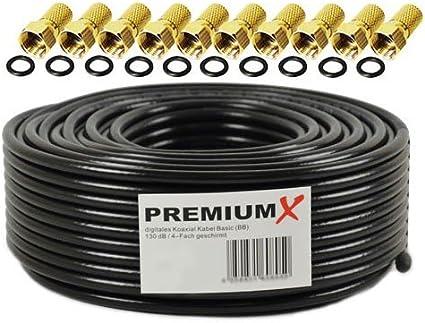 50m Cable coaxial Sat Cable de Antena Acero/Cobre Cable coaxial Negro 135dB blindado de 4 vías para Sistemas DVB-S / S2 DVB-C y DVB-T BK + 10 ...