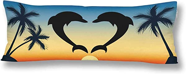 InterestPrint Heart Silhouette Dolphins Palm Tree At Sunsetocean Seascape Body Pillow Covers Case Pillowcase With Zipper 21x60 Twin Sides For Home Bedding Couch Decorative