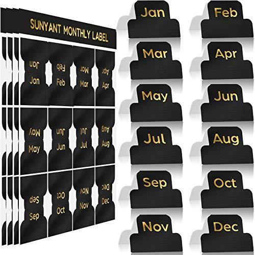 48 Stücke Selbstklebende Registerkarte Designer Zubehör Monatliche Etiketten Planer Aufkleber Dekorative Monatliche Reiter für Büro Studienplaner Organisationen (Schwarz)