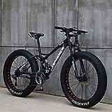 26 Zoll Mountainbikes, MJH-01 Erwachsene Fat Tire Mountain Trail Bike, 24-Gang-Fahrrad, Rahmen aus Karbonstahl, Doppelte Vollfederung, Doppelte Scheibenbremse, Schwarz/Blau