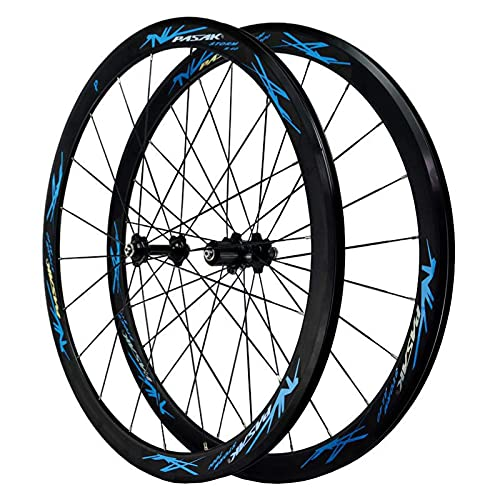 TYXTYX Juego de Ruedas de Bicicleta de Carretera 700C Ruedas de Ciclismo de 40 mm Llanta de aleación de Aluminio Rodamientos sellados Buje de 24 Orificios para velocidades de 7/8/9/10 (Color: Negro