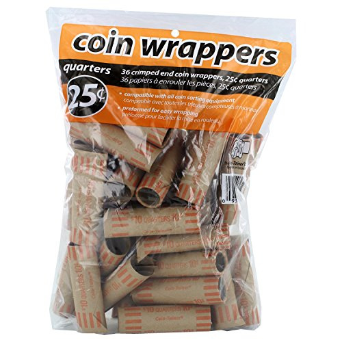 Coin-Tainer Quarter Coin Wrappers, Pack of 36