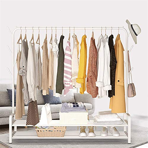 LOVEHOUGE Clothes Rack 2-In-1 Coat Rack Garment Rack with Bottom Shelves, 8 Side Hooks, Closet Organizer, Indoor Hanging Rail Clothes Drying Rack,White