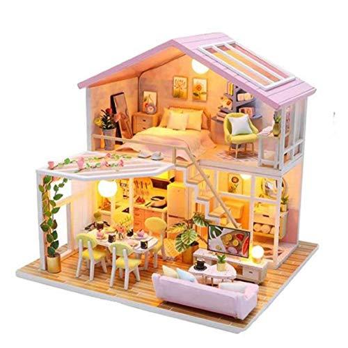 SJXM DIY casa de muñecas en miniatura de construcción kits de regalo para niños Modelo de casa de madera Little House Toys Doll House Muebles Accesorios