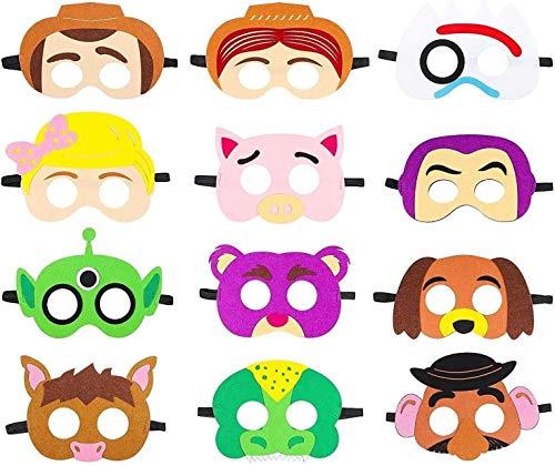 YUESEN Toy Story Maschere in Feltro 12pcs Toy Story Forniture per Feste a Tema Compleanno Bomboniere per Vestire Costumi Maschera Photo Booth Prop Personaggio dei Cartoni Animati Cosplay Giochi