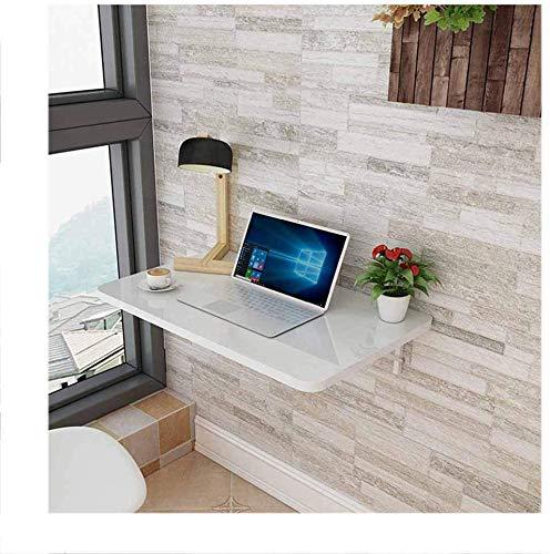 QTQZDD Aan de muur gemonteerde klaptafel, eettafel tegen de muur, computerbureau, notitiebureau, studeertafel, massief hout (grootte: 80x40cm) 6 6