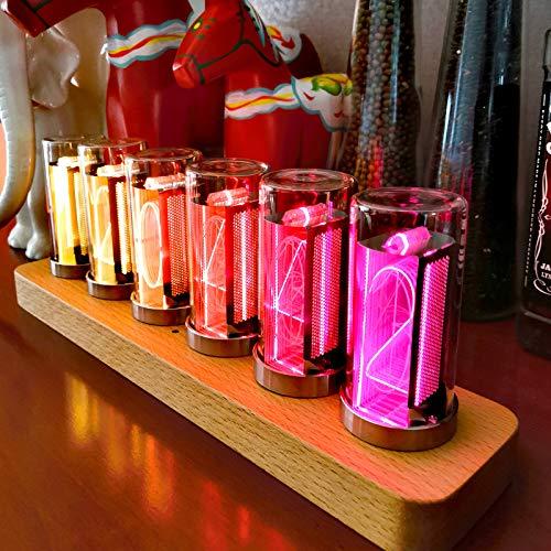 TZUTOGETHER LED Nixie Uhr Steampunk-Stil, LED-Uhr Nixie Tube Clock, Timer-Funktion, Digitaluhr Nixie Röhren Hohe Helligkeit, Doppeltes LED-Material, Geschenk für den Vater