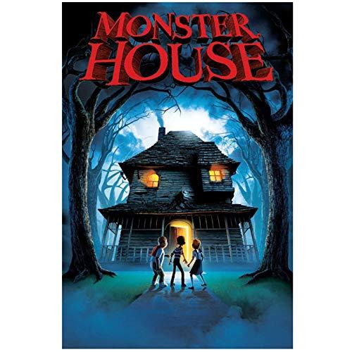Monster House (2006) fascinante póster de película de anime impresión en lienzo pintura arte de pared para sala de estar decoración de dormitorio-50x75cm sin marco