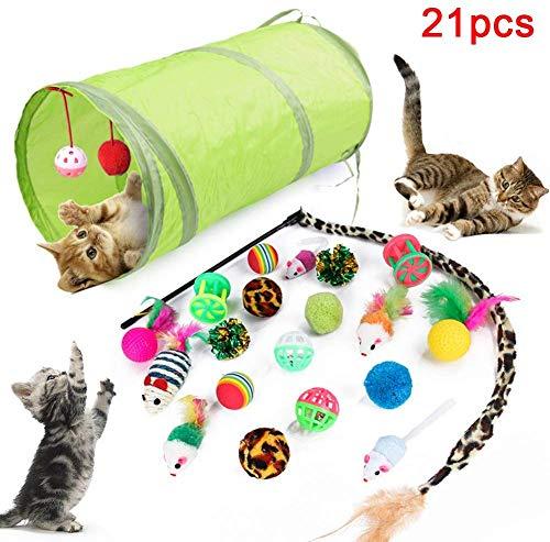 Voarge 21 Stück Katzenspielzeug Set Katze Toys Variety Pack, Katzenspielzeug Set mit Bälle Federspielzeug, katzenspielzeug Pack, Kätzchen Maus Spielzeug Set, Katze Toys Variety Pack