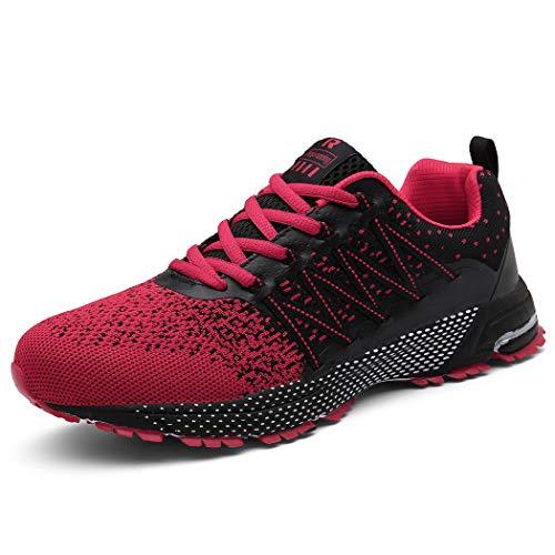 UBFEN Zapatillas para Hombres Mujer Calzados Deportivo Zapatos para Correr Deportivas Deporte Gimnasio Sneakers Transpirables Casual EN 47 Rojo