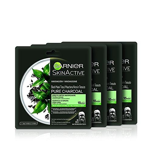 Garnier Skincare Skin Active Pure Charcoal Maschera in Tessuto, Confezione da 4 Pezzi