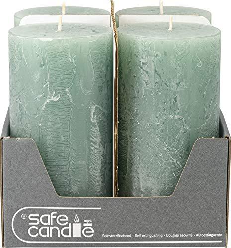 safe candle Rustic Kerze selbstverlöschend, Höhe 14 cm/Ø 7 cm, 69 Std. Brenndauer (Smaragd)