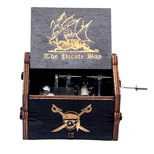 Goodangie00 Schwarz Hölzerne Spieluhr Holz Handkurbel Graviert Musikbox Vintage Hochzeit Valentinstag Weihnachten Geburtstagsgeschenk - Pirates of The Caribbean