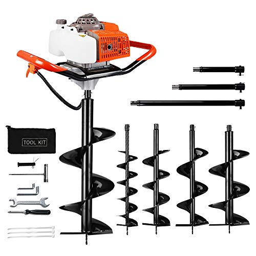 """ECO LLC Hand-Held Gas Powered Post Hole Digger, 63cc, With Auger Combo Auger Extension - up to 4! (6"""", 8""""10"""" 12"""" Earth Augers)"""