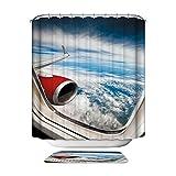 HarsonundJane 3D Wasserdichter Polyester Stoff Duschvorhang Badewanne Vorhang 72 × 72 Zoll/72 × 79 Zoll mit 12 Stk Haken (Ebene, 180 x 180 cm)