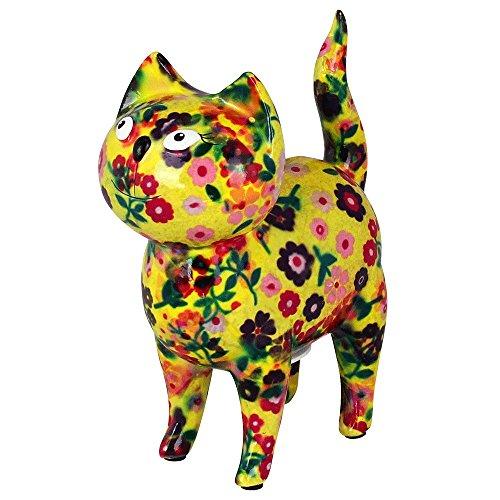 Tirelire Chat Mia | Tirelire Pomme-Pidou chat originale en céramique | jaune avec des fleurs |...