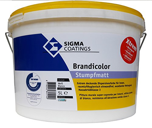 SIGMA Brandicolor Xtreme, 5L Innenwandfarbe, weiss, hochdeckend, stumpfmatt.