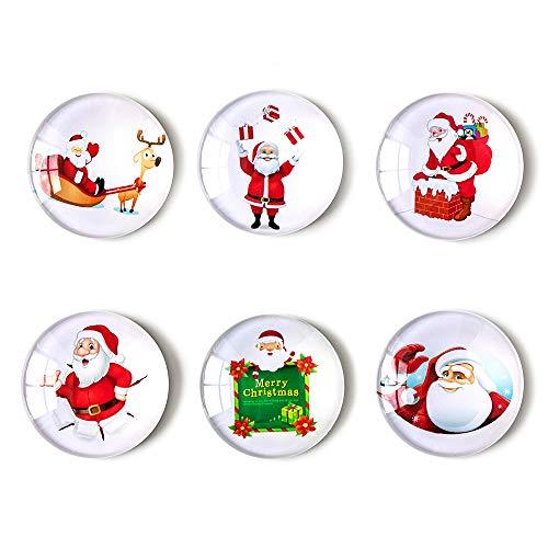 COSOW 6Pcs Glass Refrigerator Magnet Fridge Sticker - Round Santa Claus Glass Fridge Decoration, Office Whiteboard Magnets, Cabinet Magnets, Dishwasher Magnets, Cabinet Cute Locker Magnets