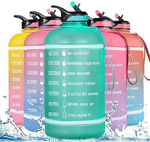 ZOMAKE Gallone Wasserflasche (3.78L) mit Zeitmarkierung und Strohhalm, motivierendem Wasserkrug BPA-frei, auslaufsichere große Wasserflaschen für Fitness- und Outdoor-Sportarten