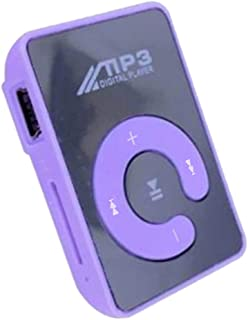Homyl Mini Mirror Clip MP3 Player Portable Fashion Sport USB Digital Music Player for Micro SD TF Card Media Player - Purple