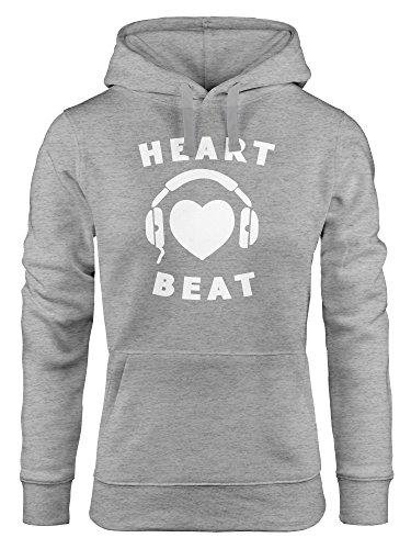 MoonWorks Kapuzen-Pullover Damen Heart Beat Herz Kopfhörer Musik Techno grau M
