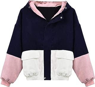 KYLEON Women's Coat Corduroy Hooded Lightweight Windbreaker Jacket Travel Trench Coats Parka Pea Coat Outwear Overcoat