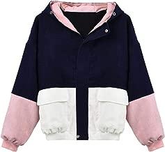 Kulywon Women Long Sleeve Corduroy Patchwork Oversize Jacket Windbreaker Coat Overcoat