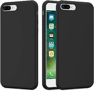 Caka iPhone 7 Plus Case, iPhone 8 Plus Liquid Silicone Case Gel Rubber Soft Slim Girly Luxury Microfiber Cloth Lining Cushion Cute Protective Case for iPhone 7 Plus iPhone 8 Plus (Black)