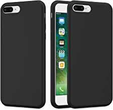 Caka iPhone 7 Plus Case, iPhone 8 Plus Liquid Silicone Case Gel Rubber Soft Slim Girly Luxury Microfiber Cloth Lining Cushion Cute Protective Case for iPhone 7 Plus iPhone 8 Plus (Black)