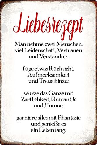 Blechschild 20x30cm gewölbt Liebesrezept Man nehme Zwei Menschen Spruch Sprüche Deko Geschenk Schild