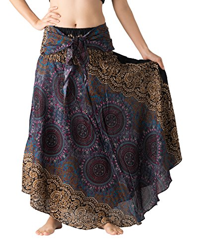 B BANGKOK PANTS Women's Boho Maxi Skirt Bohemian Print (Bohorose Grey, One Size)