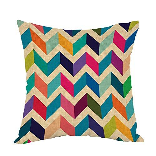 Moslion Chevron Pillow,Home Decor Throw Pillow Cover Multicoloured Zig Zag Plain Cotton Linen Cushion for Couch/Sofa/Bedroom/Livingroom/Kitchen/Car 18 x 18 inch Square Pillow case
