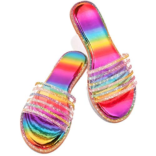 Sandals for Women Dressy, Summer Comfy Casual Crystal Flat Sandal Shoes Women's Beach Holiday Slipper Flip Flops (42, D-Multicolor)