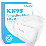 KN95 Face Mask 60 Pack, BLScode Individually Wrapped 5-Layer Breathable Mask with Comfortable Elastic Ear Loops, Filter Efficiency≥95%