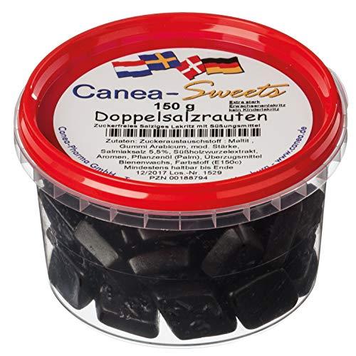 Canea-Sweets Zuckerfreier Lakritzgenuss, DOPPELSALZRAUTEN zuckerfrei Dose, 1er Pack (1 x 150 g)