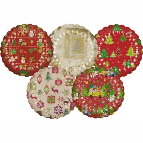 Papstar Pappteller / Einwegteller rund (25 Stück), verschiedene Weihnachtsmotive und gewellter Rand, Durchmesser 23 cm, ideal für Süßigkeiten, Plätzchen und Kuchen, #11522