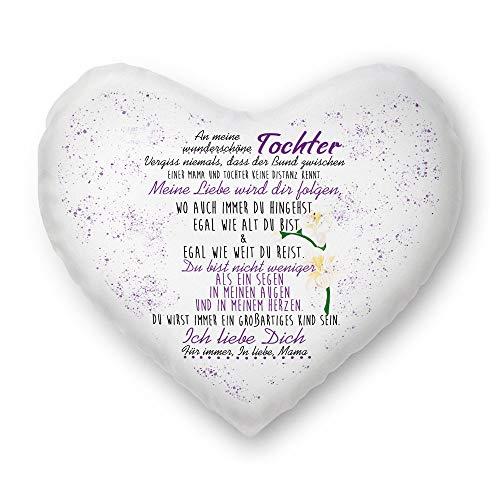 Familie-Kissen mit Spruch von Mama für Tochter Herzkissen - Kissenbezug inklusive Kissen/Verwandte/Geschenk-Idee/Liebling/Kinder/Herz-Kissen / 100% Polyester